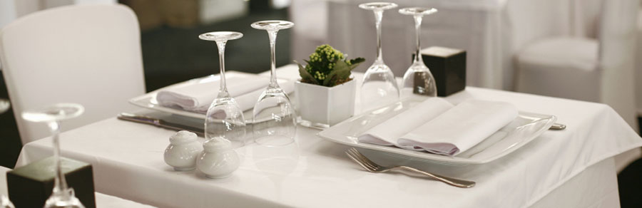 table setting in a fine dining restaurant